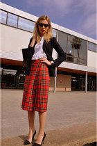 ruby red custom made skirt - navy Zara blazer - dark brown Louis Vuitton bag