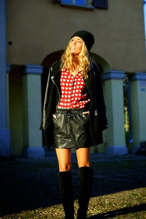 black Sheinside coat - red ella delor shirt - black ella delor skirt