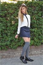 ivory Zara shirt - black Zara boots - bronze vintage hat - blue Zara skirt