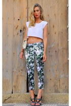 green Sheinside pants - off white Chanel bag - green loewe heels