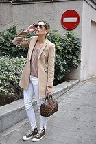 ivory Rolex watch - camel Zara coat - dark brown Louis Vuitton bag