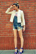 navy Zara bodysuit - white Chanel belt - blue Zara heels