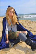 blue bereber cape - black Zara boots - heather gray Calzedonia socks