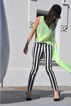 black asos top - yellow Top top - white Mango pants - black Zara heels