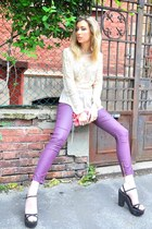 neutral Miss Selfrige shirt - hot pink armani bag - amethyst Pimkie pants