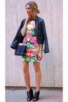 hot pink Sheinside dress - black Chanel bag - black Topshop heels