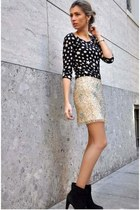 eggshell Zara skirt - black Zara boots - black bought in Paris shirt