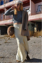 white vintage hat - dark brown Uterqe boots - camel Zara coat