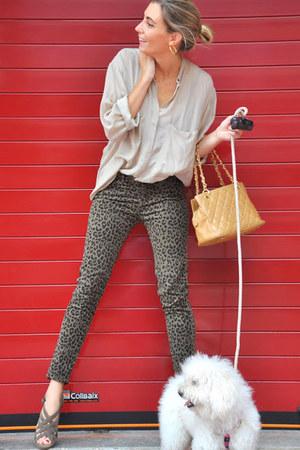 nude Chanel bag - dark khaki Mango shirt - dark brown Zara pants