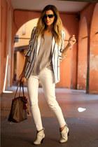 white tbdress blazer - heather gray tbdress t-shirt