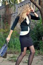 black Zara skirt - dark green Zara jacket - black Primark tights
