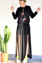 black chicnova sweater - silver nike sneakers - black Zara skirt