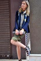 navy Zara blazer - white Zara shirt - blue Zara scarf