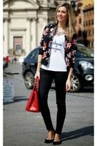 ruby red PERSUNMALL jacket - white sheshebonbon t-shirt