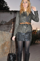 black Zara skirt - black Biviel boots - green Barbour jacket - navy Zara shirt