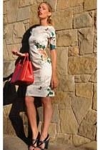 red Prada bag - ivory romwe dress - green loewe heels