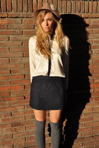 white Zara shirt - black Zara boots - bronze vintage hat - navy Zara skirt