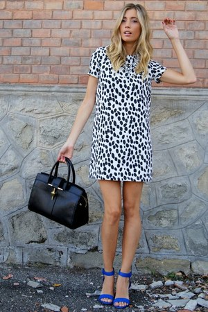 black Zara bag - ivory romwe dress