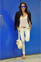 orange Miu Miu heels - blue Zara blazer - white Miu Miu bag