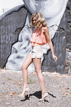 cream hidden forest shorts - light orange WalG top - pink Zara heels