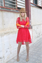 red Miss Selfridge dress - camel bought in peru hat
