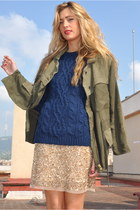 gold Zara skirt - green Zara coat - navy Zara jumper