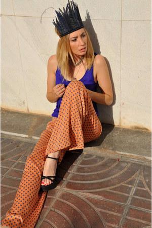 carrot orange Zara pants - heather gray lucuix accessories - navy H&M top