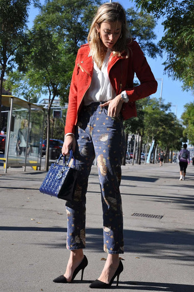 white Zara blazer - navy vintage jeans - ruby red Mango jacket - navy dior bag