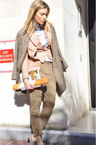 tailored made blazer - benetton coat - Zara shirt - Zara pants