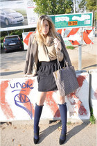 black H&M skirt - light brown Zara blazer - dark khaki Zara shirt
