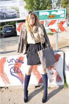 black H&M skirt - light brown Zara blazer - dark khaki Zara shirt