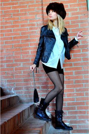 black Zara boots - brown vintage hat - black Zara jacket - black Chanel bag