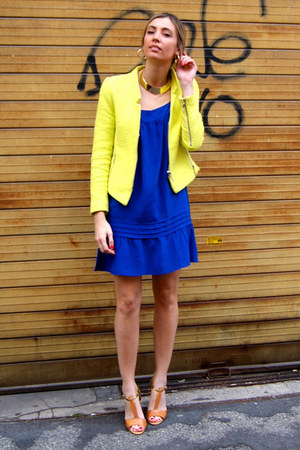 yellow Zara jacket - blue Massimo Dutti dress - light yellow Haute1 necklace