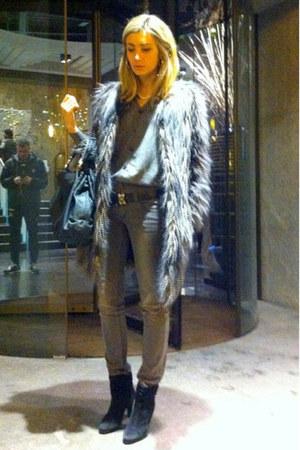 silver boyfriend jacket - black Zara boots - charcoal gray Zara coat