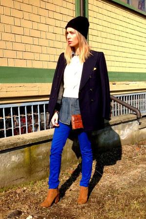 blue H&M pants - bronze Zara boots - black thrifted hat - navy Burberry shirt
