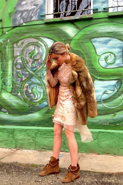 nude Miss Selfrige dress - brown Uterque boots - dark khaki vintage coat