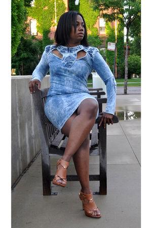 blue H&M dress - brown Bakers shoes