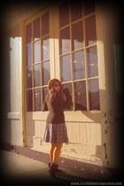 blue plaid vintage skirt - dark brown boots - dark brown H&M sweater