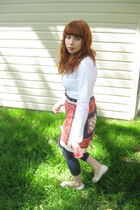 red thrifted skirt - white banana republic thrifted shirt - blue Victorias Secre