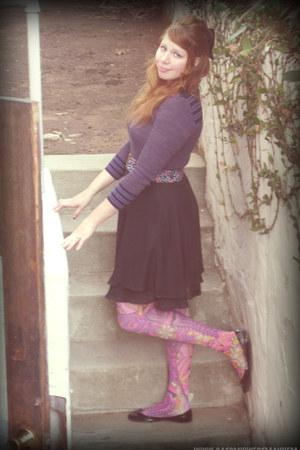 bubble gum Ebay tights - purple vintage shirt - black thrifted skirt