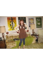 brown vintage from Ebay dress - blue Victorias Secret leggings - beige Urban Out