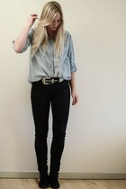 silver GINA TRICOT belt - black Savannah shoes - black H&M jeans