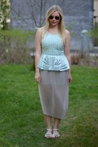 aquamarine H&M top - silver skirt - off white Topshop sandals