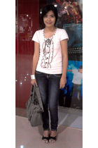 pink top - black department store jeans - gray purse - black shoes - silver save