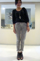 black cut out Dept Store boots - heather gray ernest sewn jeans - black thrift c