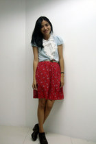brogues thrift shoes - printed chiffon thrift skirt - thrift blouse