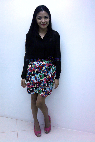 colorful Never Been Kissed skirt - black sheer top