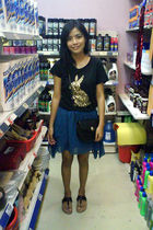 black saveonfashion top - blue saveonfashion skirt - black christian dior purse