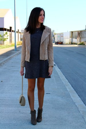 light brown Mango boots - charcoal gray Vila dress - tan Mango jacket