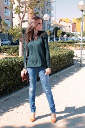 dark green Mango sweater - sky blue Fornarina jeans - tawny okeysi bag
